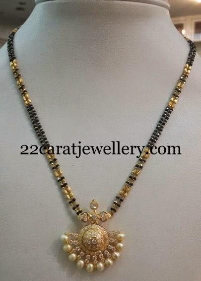 Black Beads CZ Necklace