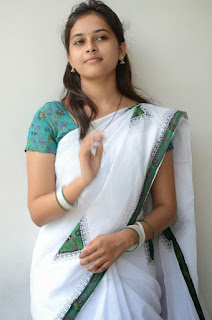 Sri Divya Looks cute and Innocnet in White Saree green Blouse