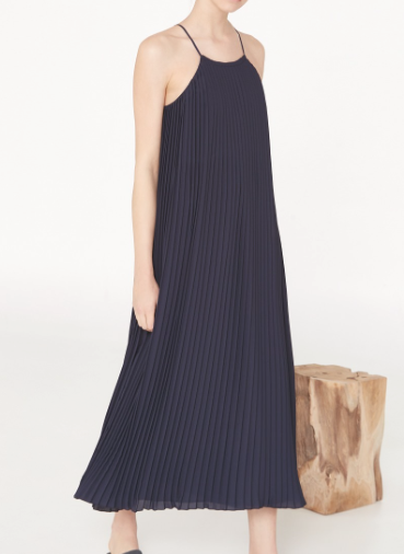 Rebajas SS 2015 fondo de armario vestido largo plisado azul marino