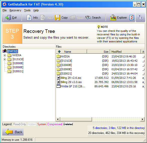 Recovery Data Terformat