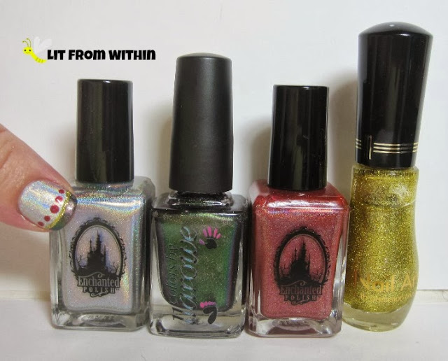 Bottle shot:  Enchanted Polish Dime Piece, Colors by Llarowe Holly, Enchanted Polish November 2013, and Milani Gold nail art striper.