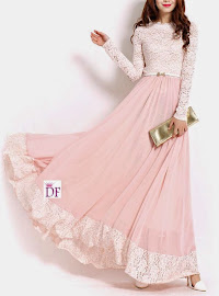 BEST SELLER: Blush Pink Long-Sleeve Lace Chiffon Maxi
