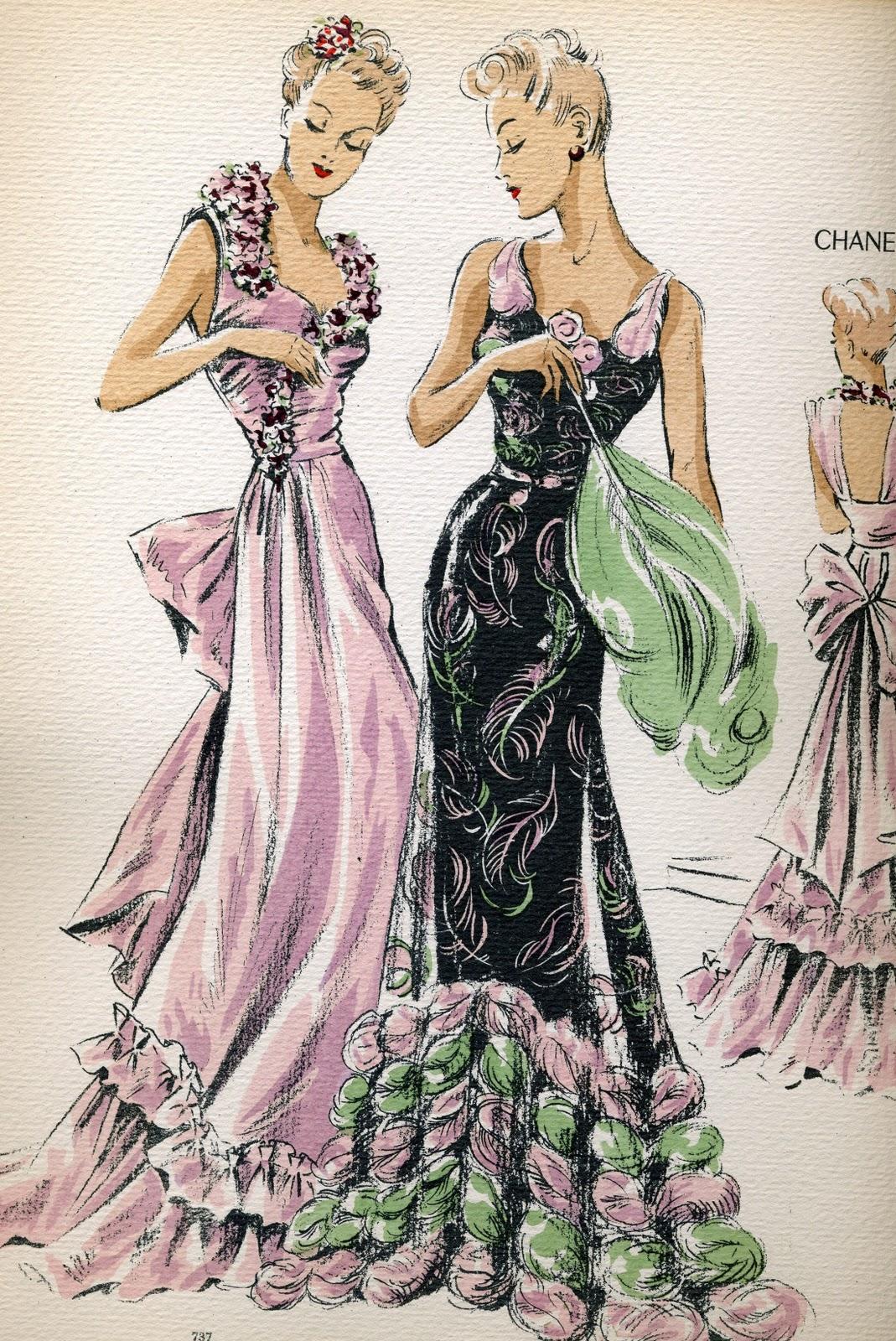 vintage fashion sketches dresses the. Black Bedroom Furniture Sets. Home Design Ideas