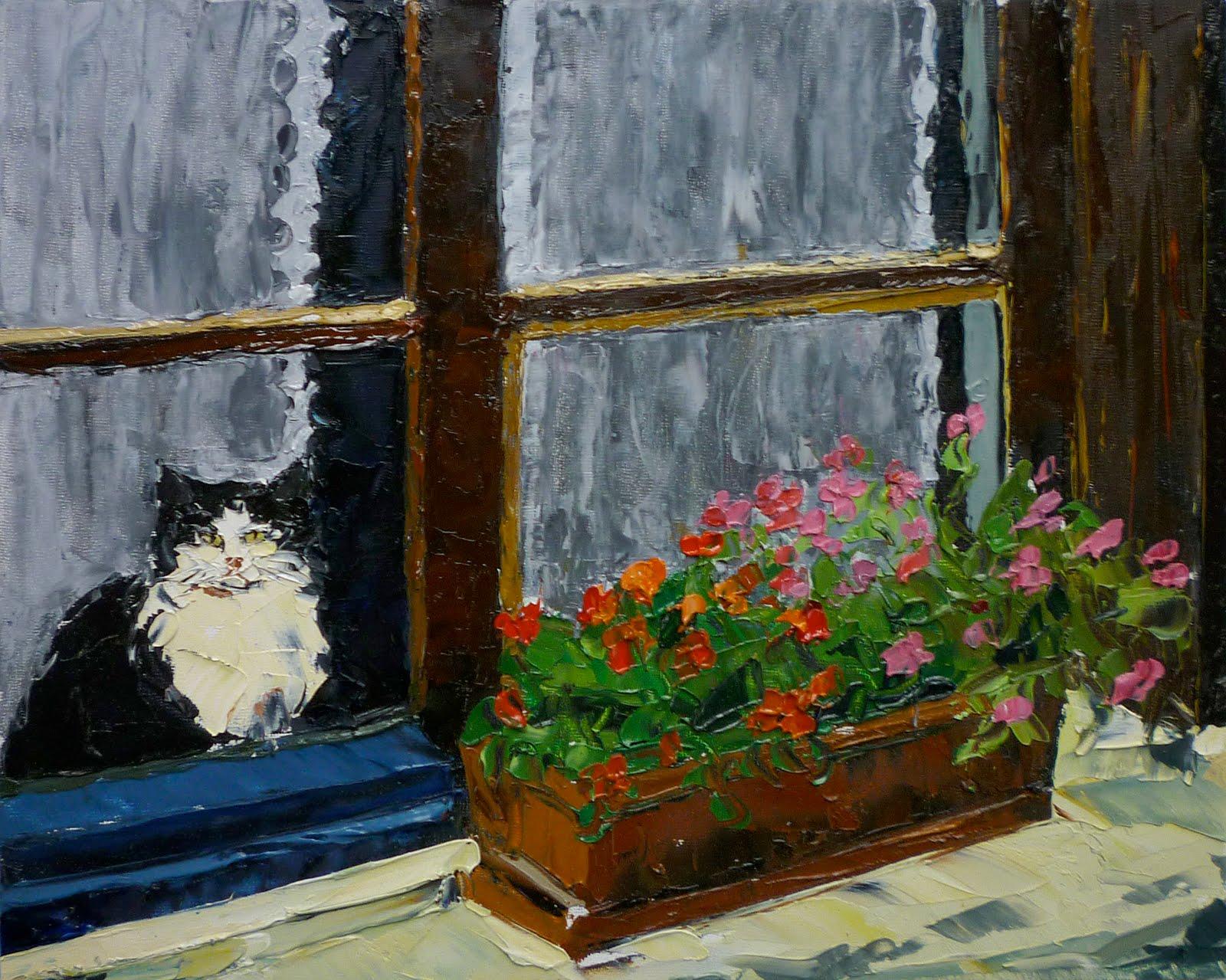 Palette knife painters le chat dans la fen tre by ann gorbett for Buer dans les fenetre