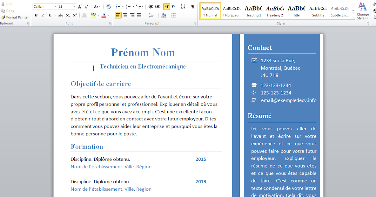 docx  exemple cv 2015 word pour technicien en