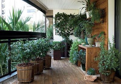 varanda com plantas e vasos