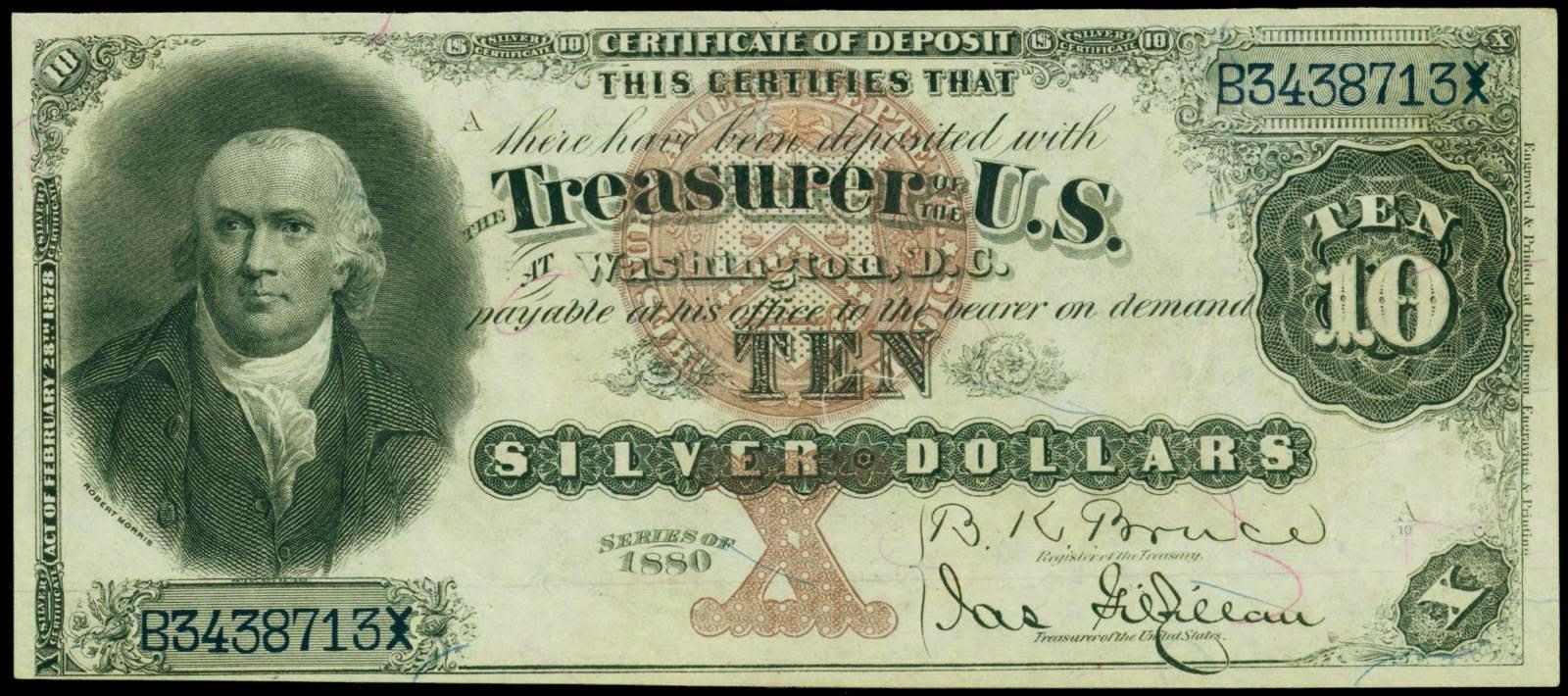 US currency 1880 Ten Dollar Silver Certificates Robert Morris
