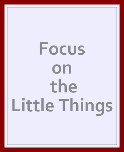 Focus on the little things and the big ones take care of themselves
