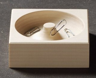 wood paper clip holder
