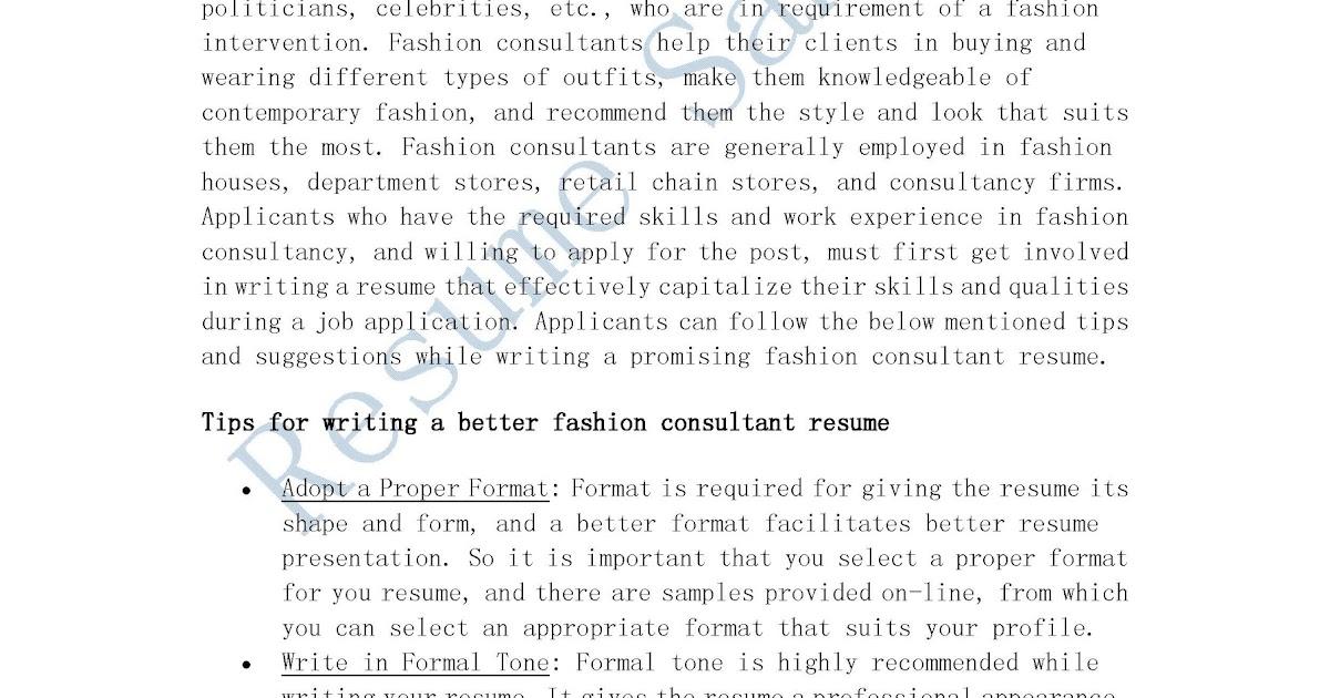 fashion consultant resumes - Gidiye.redformapolitica.co