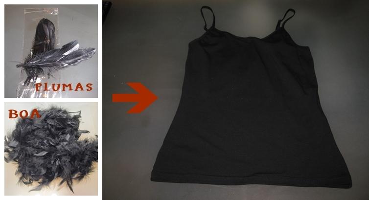 lo ideal era una camiseta negra de escote corazn problema que no las he encontrado en ningn sitio he optado por una camiseta interior negra de tirantes