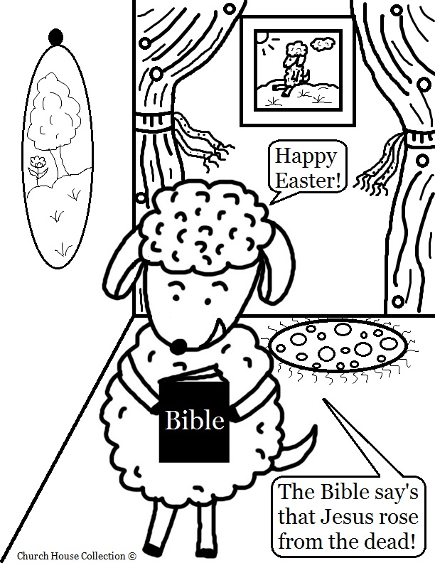 Free Easter Sheep Coloring Page title=