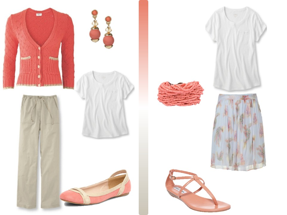 A Simple Coral Amp Khaki Summer Wardrobe With Accessories