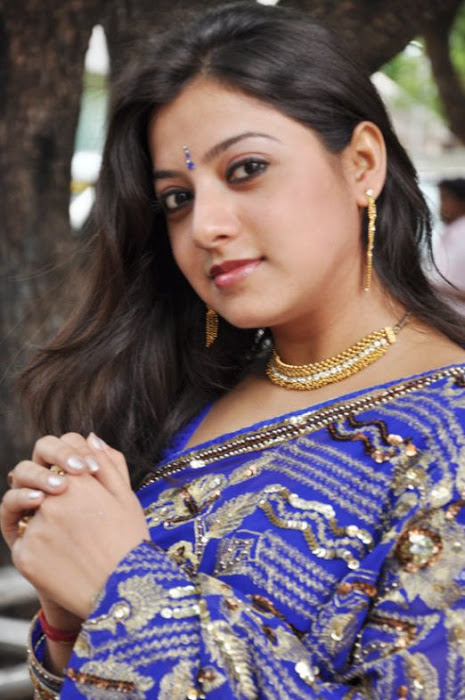 keerthi chawla spicy in blue saree