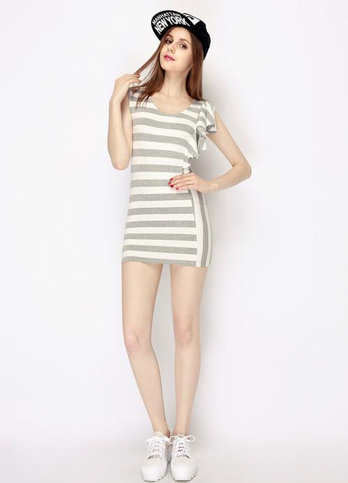 One Side Ruffle Striped Jersey Dress