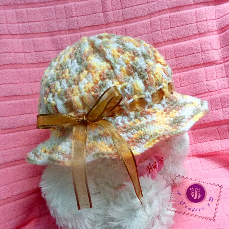 crochet baby sun hat, ribboned sun hat free crochet pattern