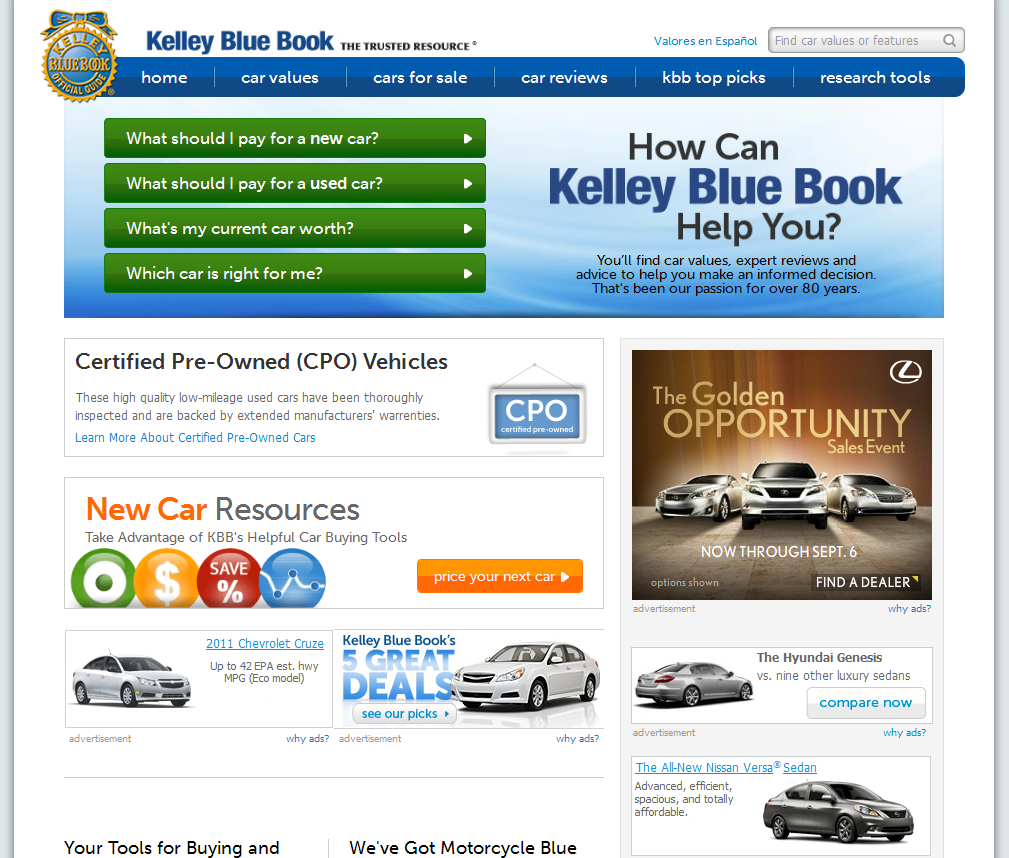 kelley blue book services used car values   tjs daily