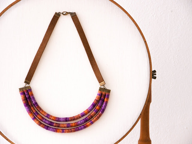 Ethnic inspired Necklace - cotton thread wrapped by Trincar Uvas