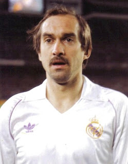 Uli Stielike wearing Real Madrid jersey