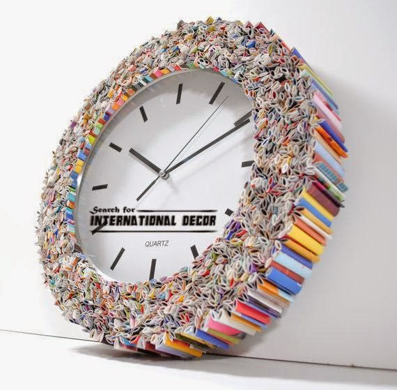 recycled art, handmade wall clock,crafts ideas with their hand