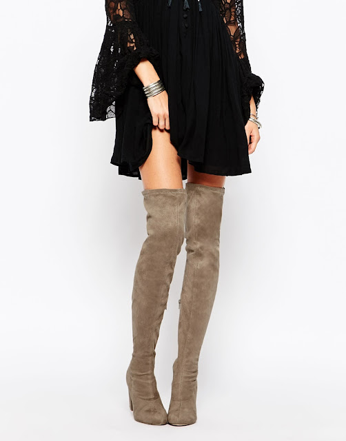 over knee suede boots, over knee beige boots,