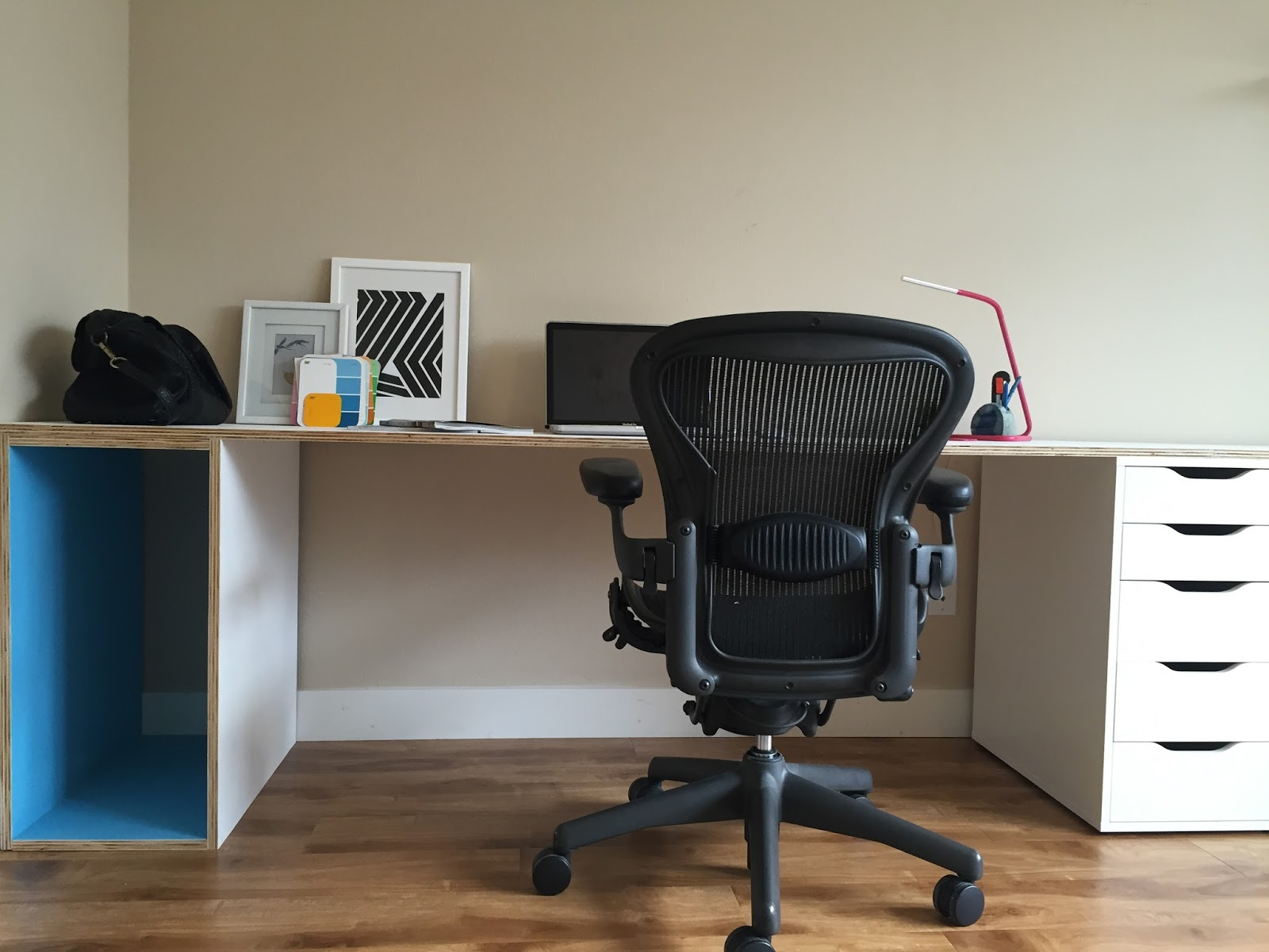 Built ins plywood desk with storage ikea hack for Ikea desk with shelf