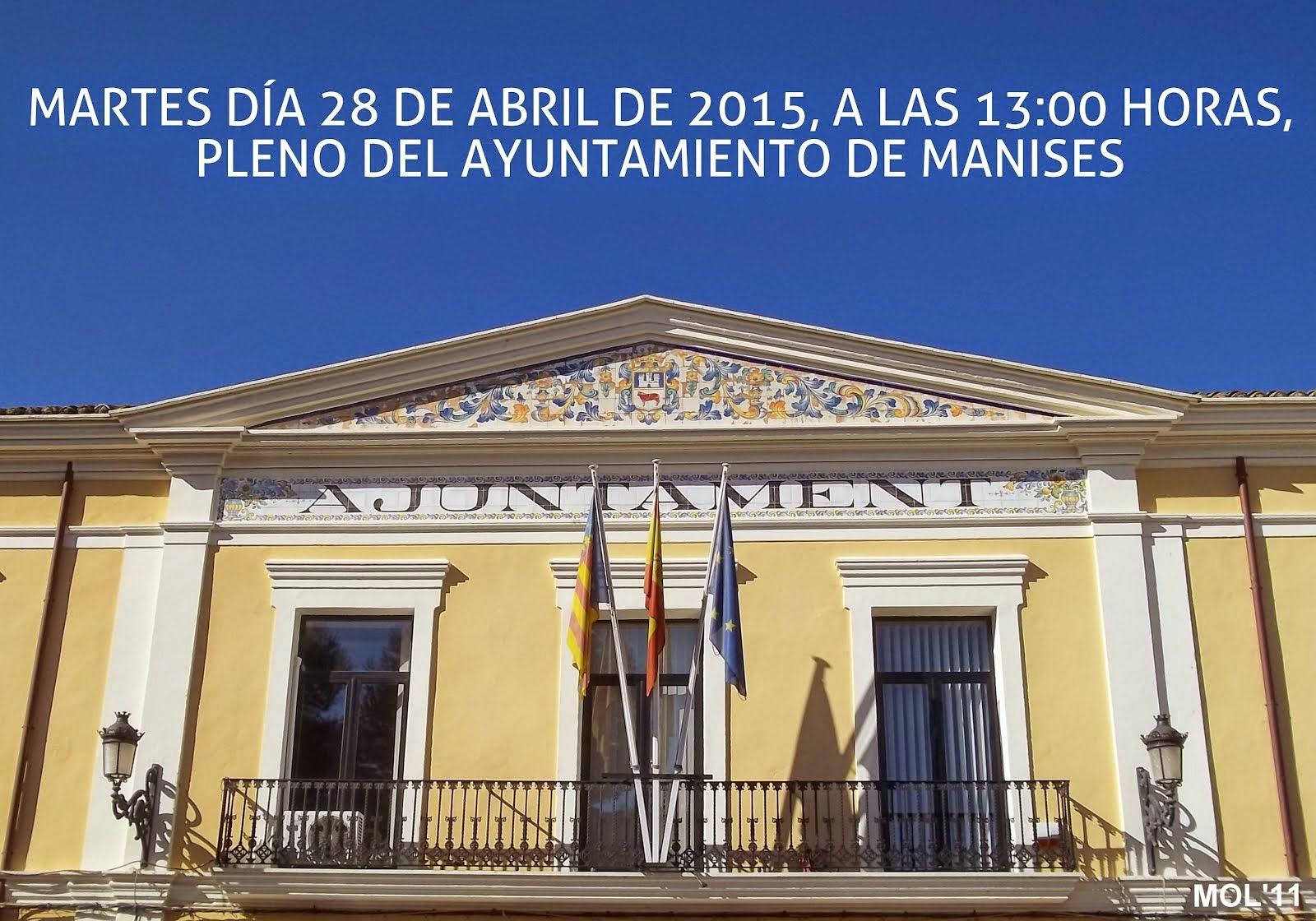 PLENO DEL AYUNTAMIENTO DE MANISES: ABRIL DE 2015