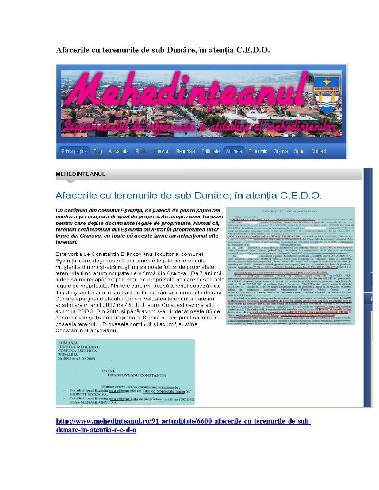 Afacerile cu terenurile de sub Dunăre, în atenţia C.E.D.O.