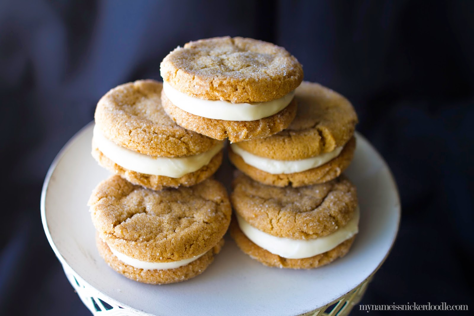 Ginger Sandwich Cookies with a Cream Cheese Frosting for a filling.  So soft, chewy and completely delicious!  |  My Name Is Snickerdoodle