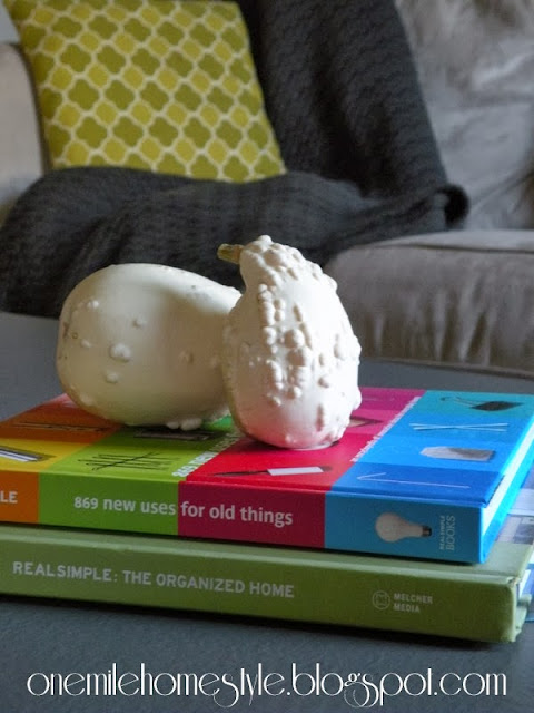 Bright Books and White Gourds Coffee Table Styling