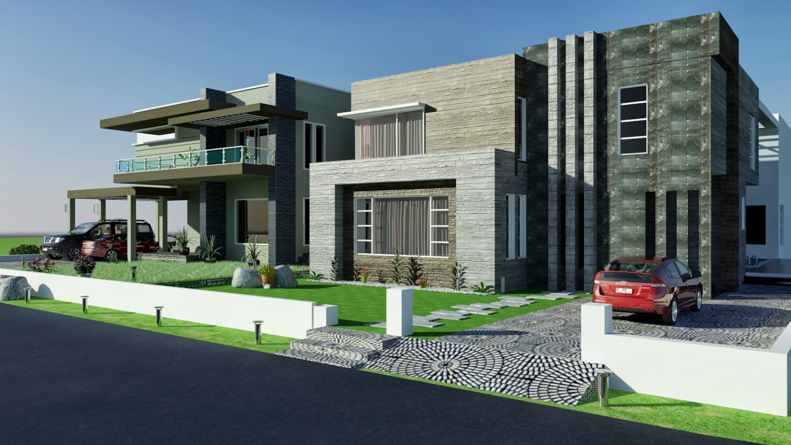 ... CONTEMPORARY House Design with Swimming Plool 3D Front Elevation