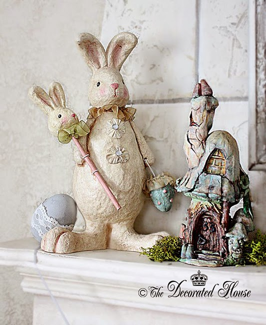 The Decorated House. Vintage style Bunny for Easter Mantel 2014