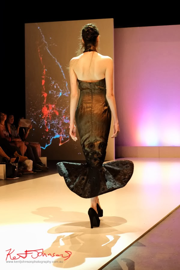 Stella Sutrisno; black evening dress -New Byzantium : Raffles Graduate Fashion Parade 2013 - Photography by Kent Johnson.