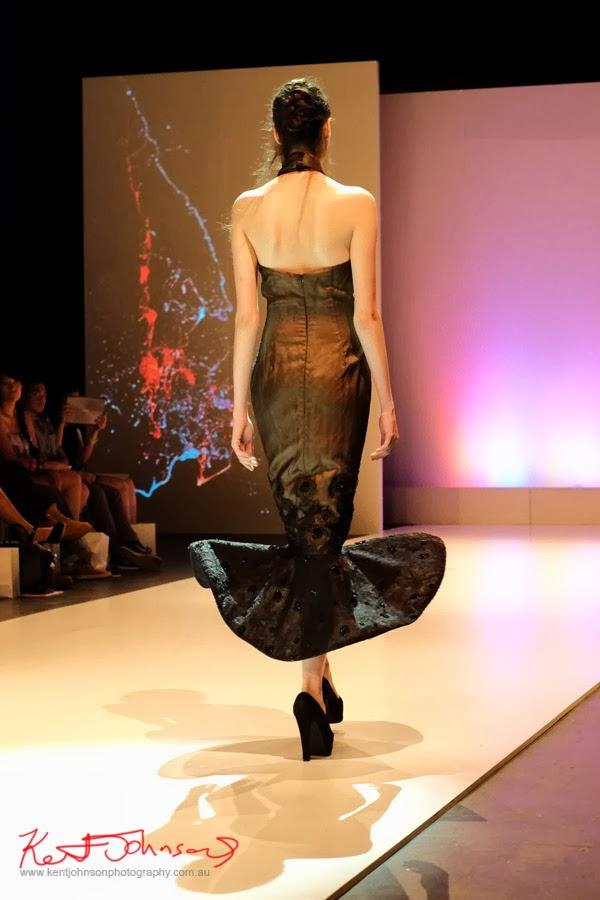 Stella Sutrisno; black evening dress -New Byzantium : Raffles Graduate Fashion Parade 2013 - Photography by Kent Johnson.