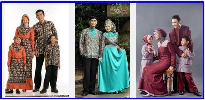Foto gambar model baju lebaran keluarga muslim, batik, anak, dewasa ...