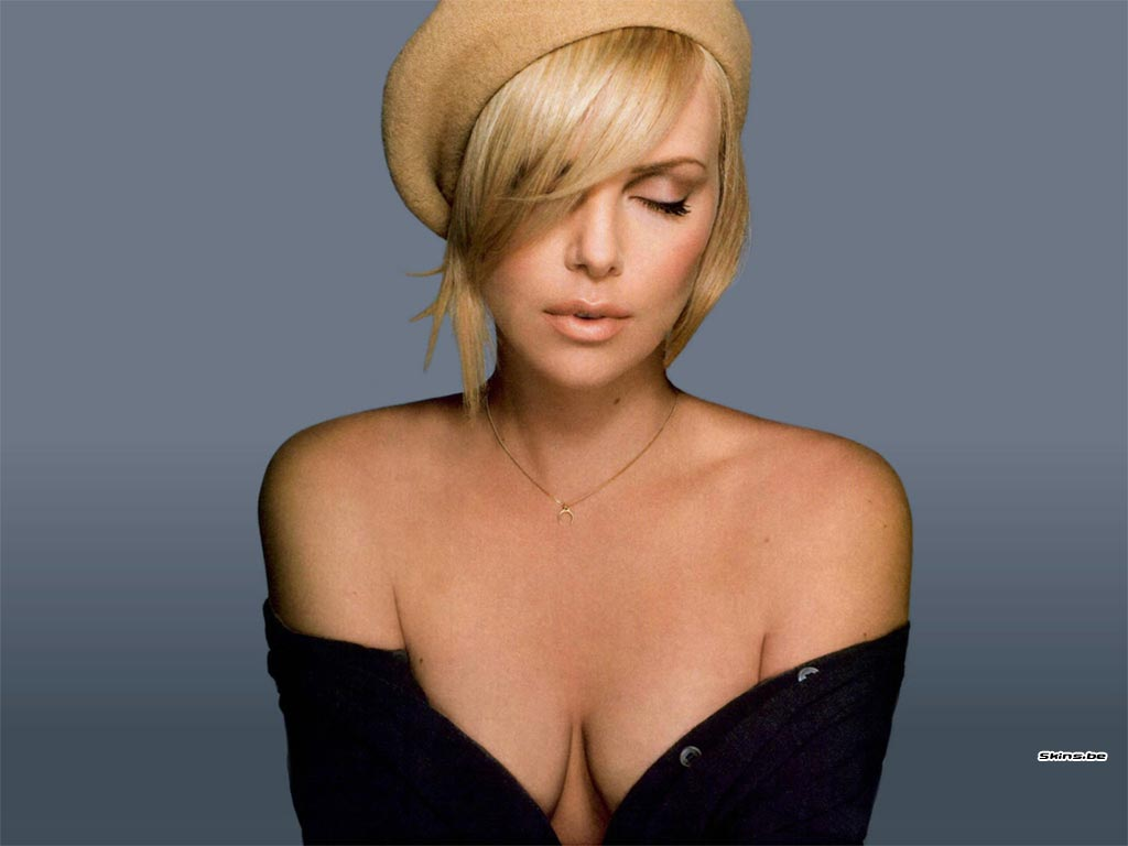 Charlize Theron face with hat