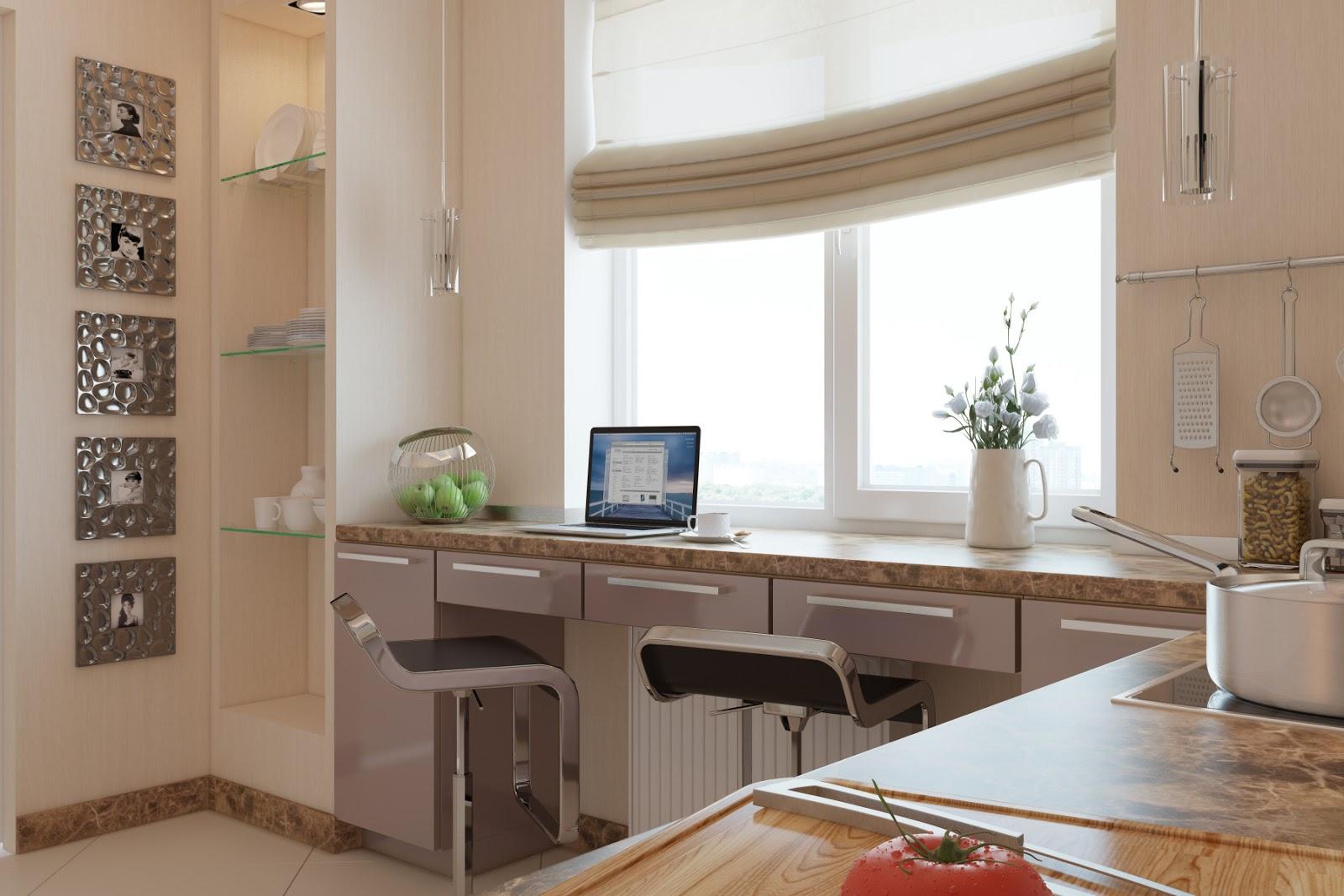 Дизайн кухни вместо подоконника стол