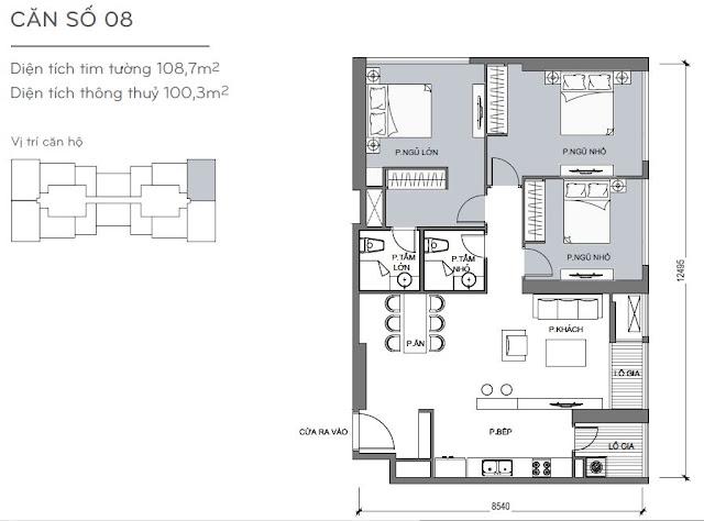 Căn hộ Vinhomes Central Park 4, 5, 6 - Kiểu nhà số 08 - 108.7m2 - 3PN