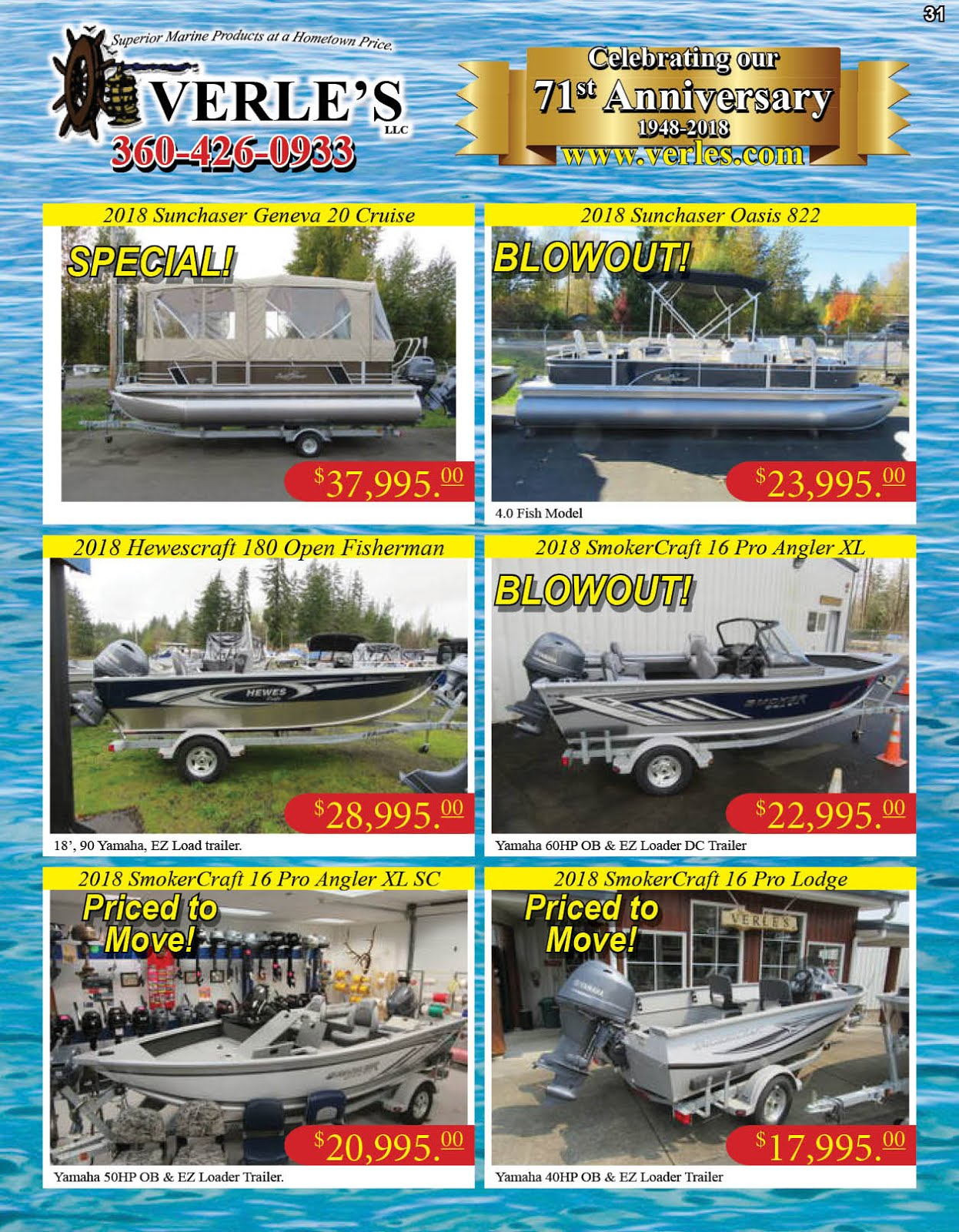 Verles 71st Anniversary!! Specials On Boats Marine Gear Tackle Guns Ammo!!