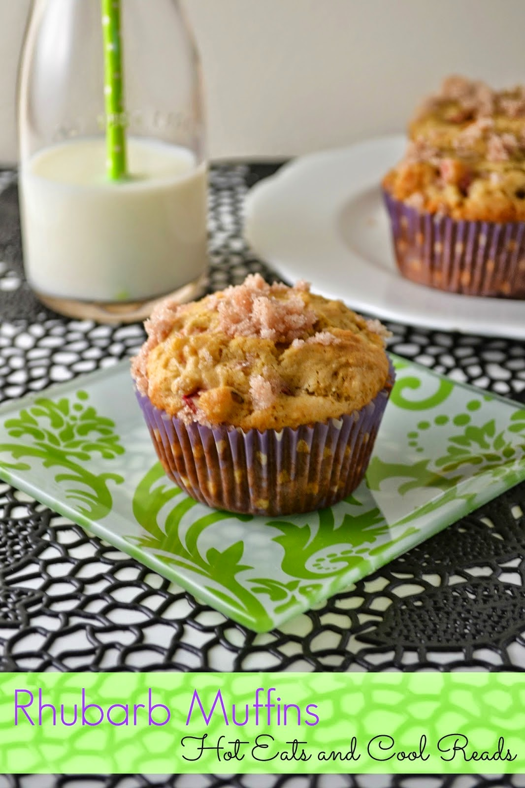 Cinnamon and Sugar Topped Rhubarb Muffins by Hot Eats and Cool Reads: