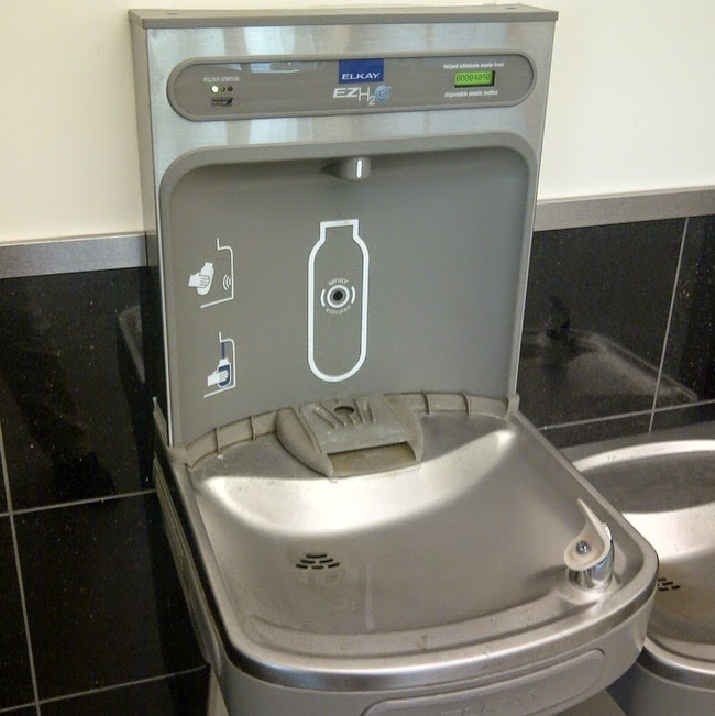 Water fountains with built-in water bottle filling station.