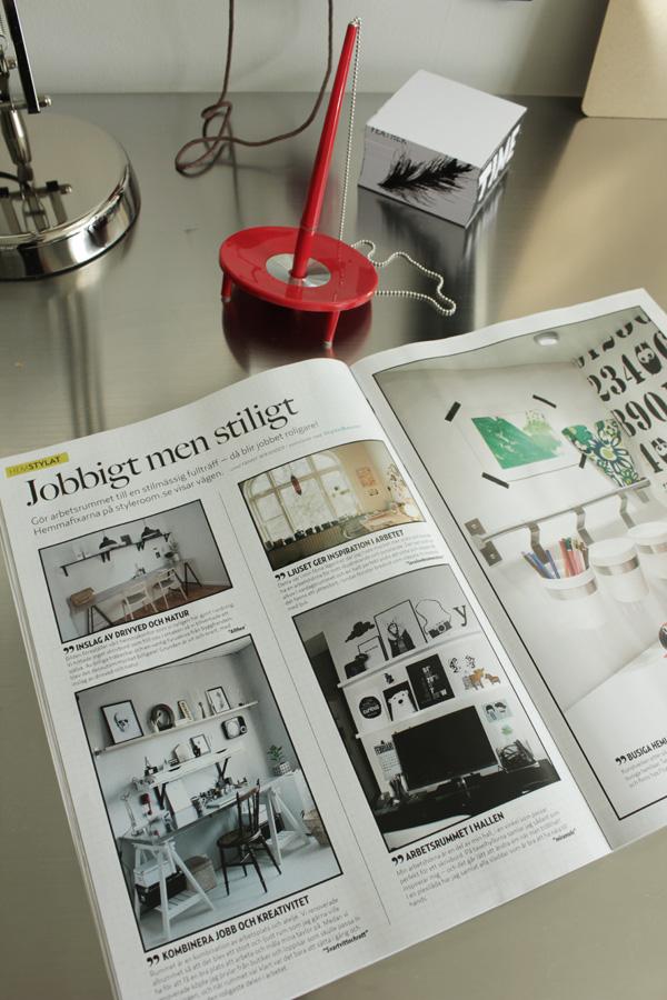 härligt hemma, aftonbladet, tidning, inredningstidning, ballpen, röd penna, bilder på arbetsrum
