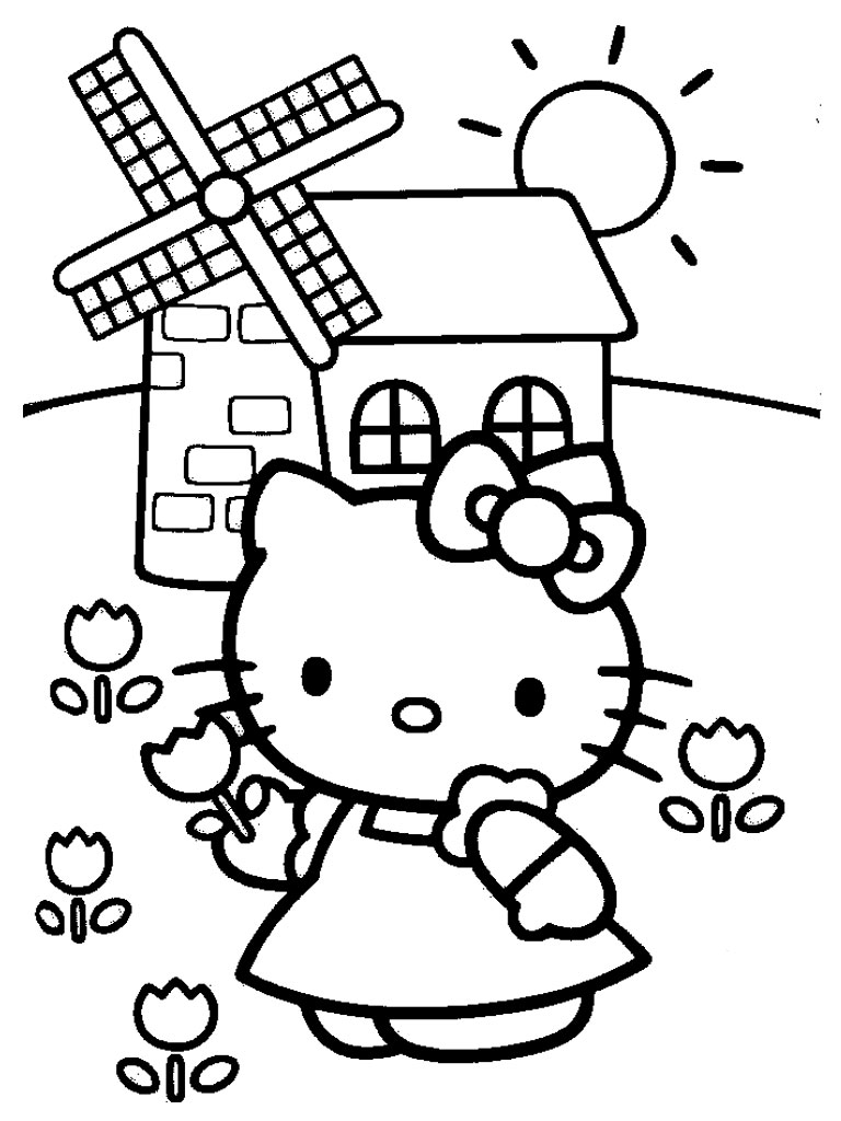 Hello Kitty With Flowers Coloring Pages : Hello kitty coloring pages realistic