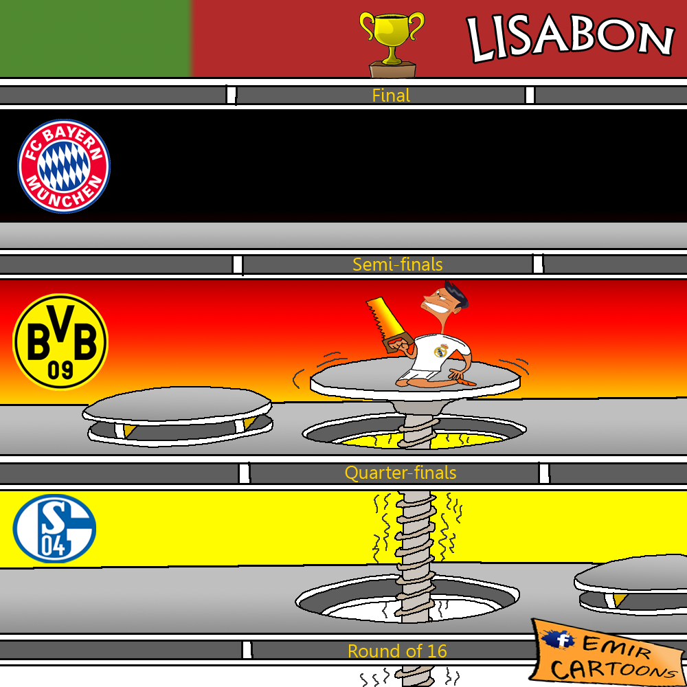 Lige Prvaka,Real Madrid,Bayern Munchen Real Madrid,Bayern Munchen, prenos,Allianz Arena,Bayern Munchen vs Real Madrid,29.4.2014,emir balkan cartoons,fudbal,karikature,karikatura dana,omar momani cartoons,