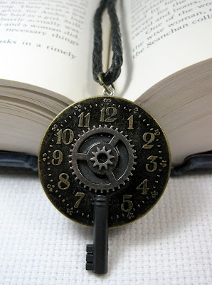 Clock necklace with key and gear