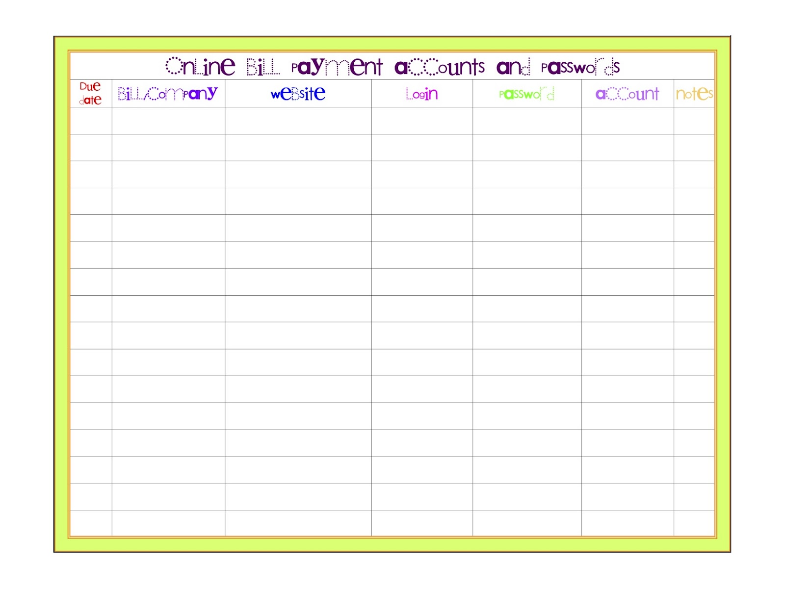 Monthly+Bill+Payment+Log Printable Monthly Bill Payment Log   Search ...