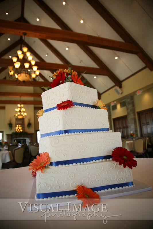 Wedding cake with blue trim and flowers on table in The Legend of Brandbrook hall