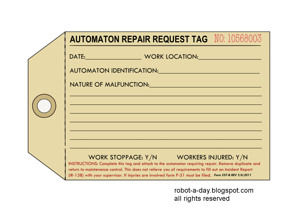 Robot A Day 337 Automaton Repair Tag