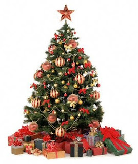 Beautiful ornaments and Christmas star decorated to X mas tree with gifts picture