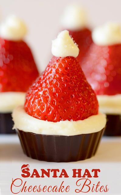 Santa Hat Cheesecake Bites! {No Bake}